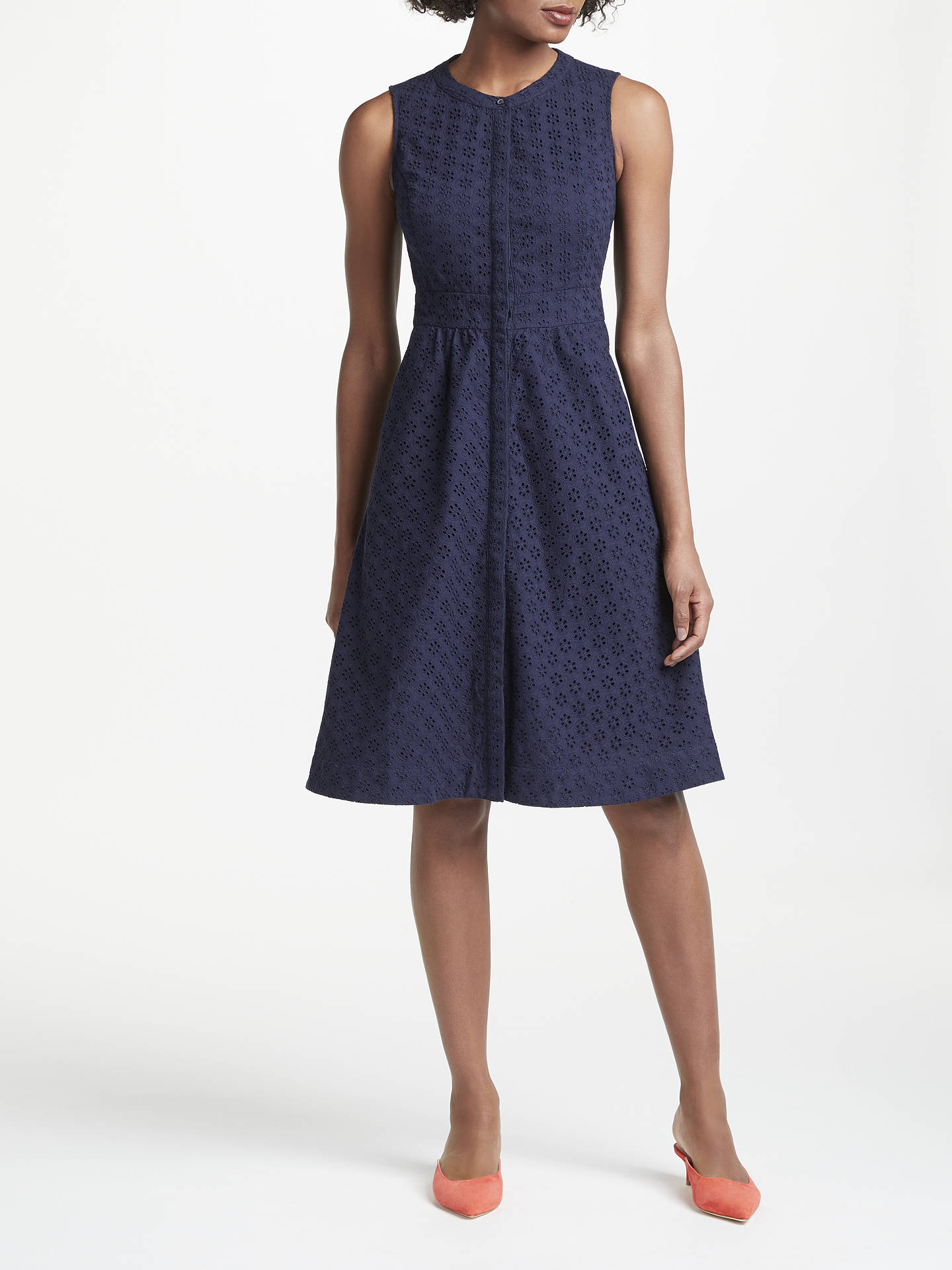 Buy Boden Leila Sleeveless Shirt Dress, Navy, 8 Online at johnlewis.com