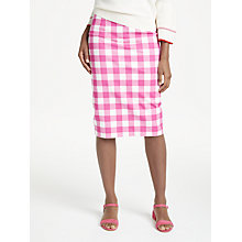 Buy Boden Richmond Checked Pencil Skirt, Pink/White Online at johnlewis.com