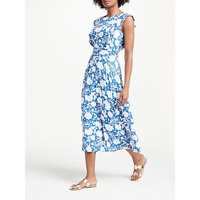 Boden Adelina Jersey Dress, Opulent Blue Tropical Floral