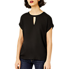 Buy Warehouse Keyhole Woven T-Shirt, Black Online at johnlewis.com