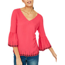 Buy Mint Velvet Aztec Embroidered Hem Blouse, Pink Online at johnlewis.com