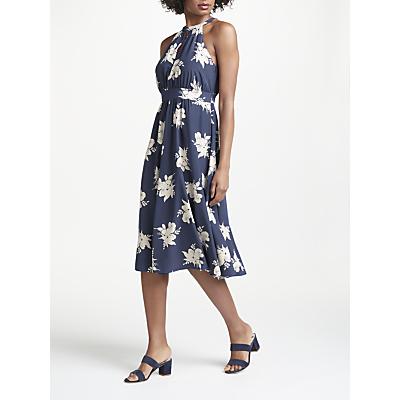 Boden Agnes Halterneck Floral Print Midi Dress, Navy/Ivory