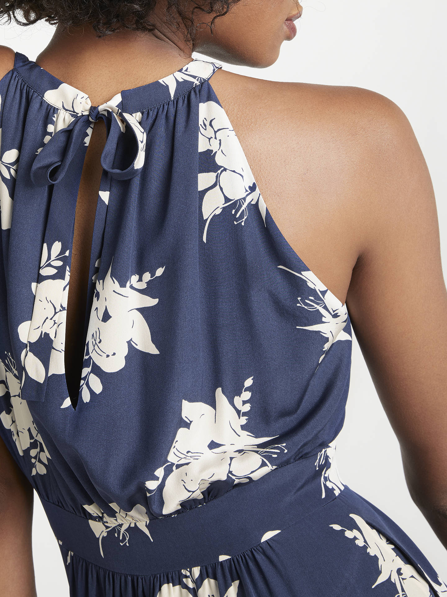 BuyBoden Agnes Halterneck Floral Print Midi Dress, Navy/Ivory, 10 Online at johnlewis.com