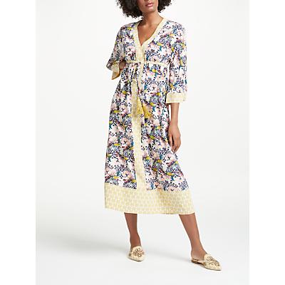 Boden Carlotta Kimono Dress, Pearl Wild Bloom Geo