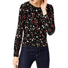 Buy Warehouse Barbican Granite Print Top, Black Online at johnlewis.com