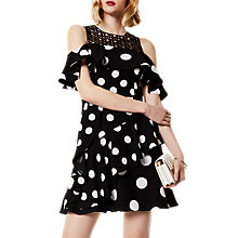 Buy Karen Millen Dot Crepe Dress, Black/White Online at johnlewis.com