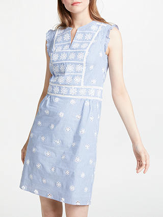 Buy Boden Hotchpotch Broderie Dress, Soft Blue And Ivory Stripe, 8 Online at johnlewis.com