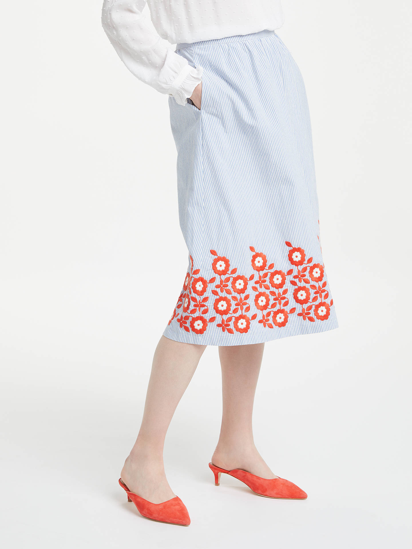 BuyBoden Haidee Embroidered Skirt, Blue and Ivory Stripe, 14 Online at johnlewis.com