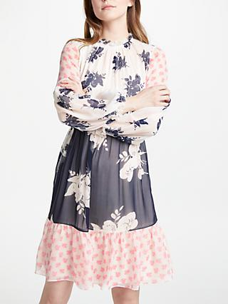 Boden Jemima Ruffle Dress, Pearl Wild Bloom Mono