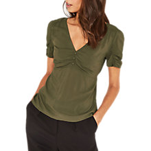 Buy Oasis Ruched Front Tea Top, Khaki Online at johnlewis.com