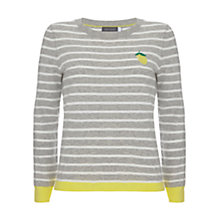 Buy Mint Velvet Lemon Motif Stripe Jumper, Grey/Multi Online at johnlewis.com