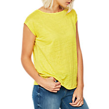 Buy Mint Velvet Cross Back Linen T-Shirt, Yellow Online at johnlewis.com