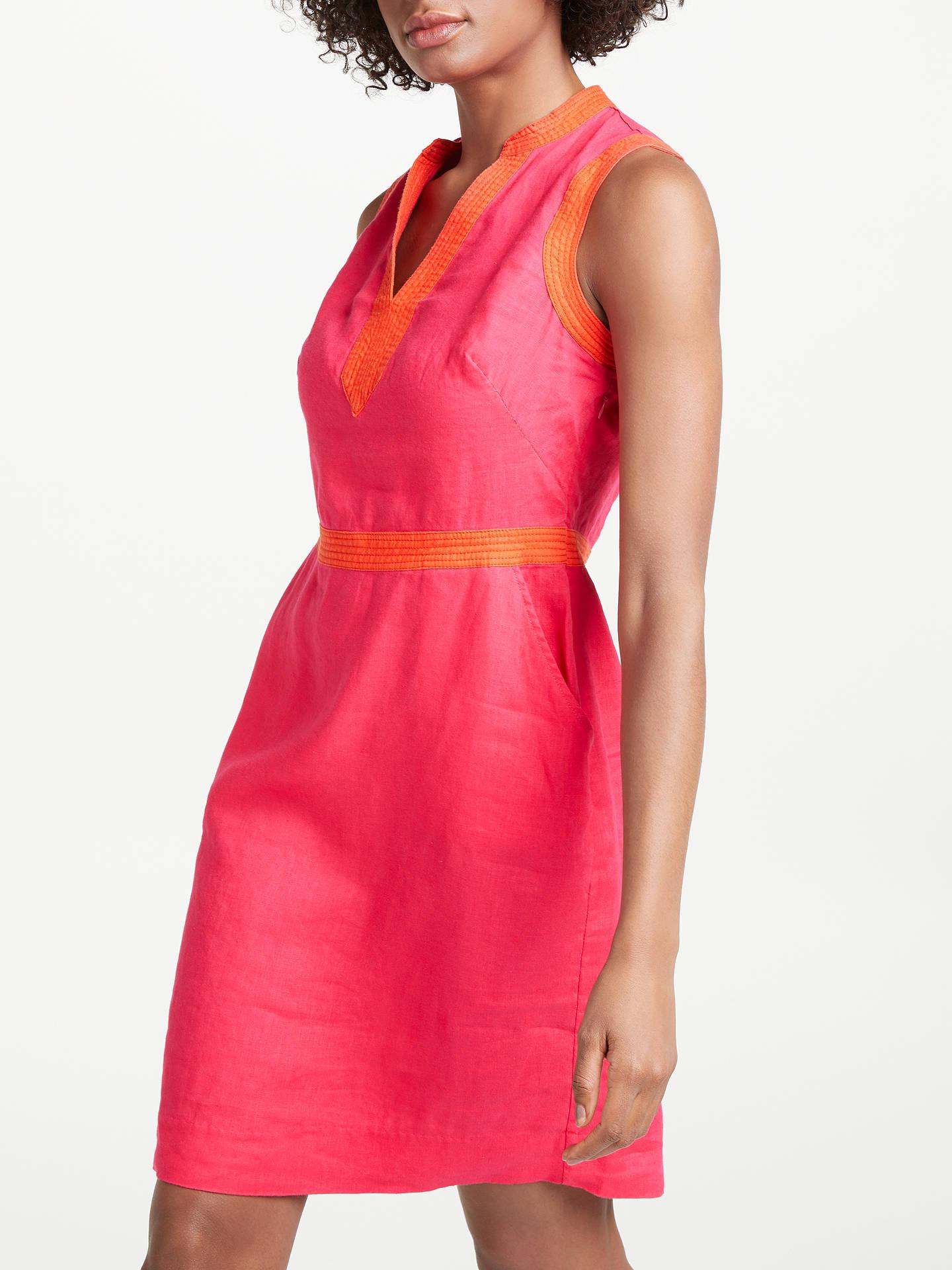 27cb920a5b Buy Boden Linen Notch Neck Dress, Carnival Pink, 8 Online at johnlewis.com  ...