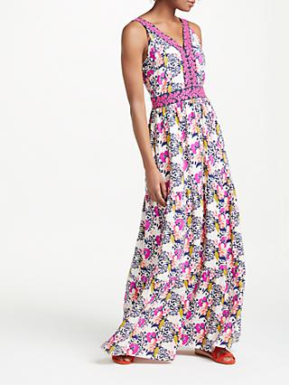 Boden Loretta Maxi Dress, Shocking Pink/Wild Bloom Geo