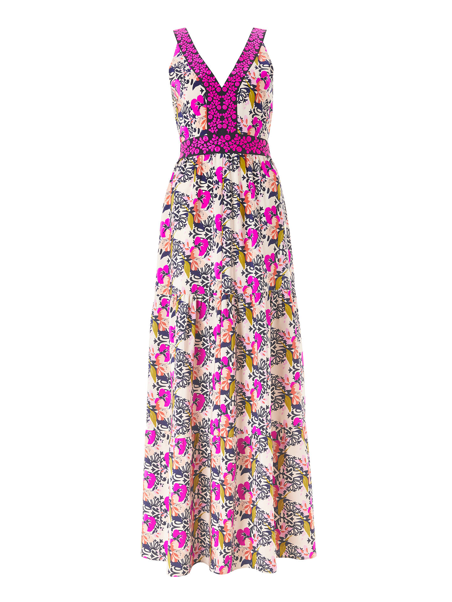 BuyBoden Loretta Maxi Dress, Shocking Pink/Wild Bloom Geo, 8 Online at johnlewis.com