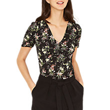 Buy Oasis Secret Garden Button Front Tea Top, Multi/Black Online at johnlewis.com