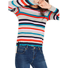 Buy Oasis Rainbow Stripe Jumper, Grey/Multi Online at johnlewis.com