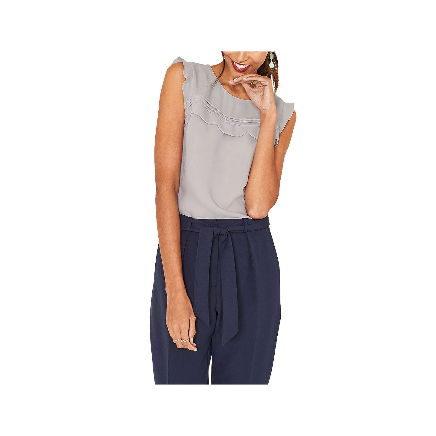 BuyOasis Scallop Shell Top, Mid Grey, 6 Online at johnlewis.com ...