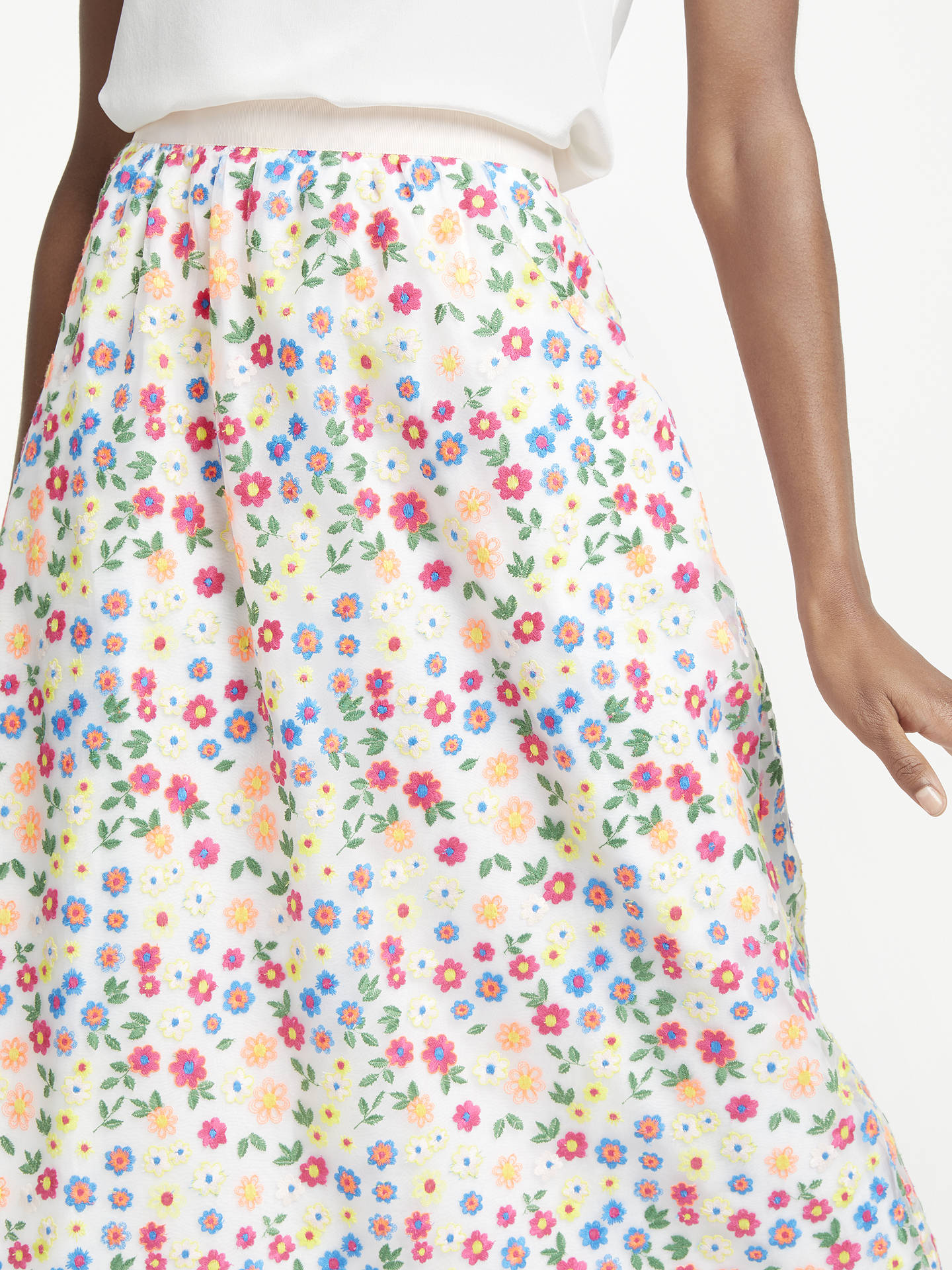BuyBoden Marjorie Organza Floral Print Skirt, Red Pop, 10 Online at johnlewis.com