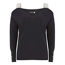 Buy Mint Velvet Cold Shoulder Block Knit Jumper, Dark Blue Online at johnlewis.com