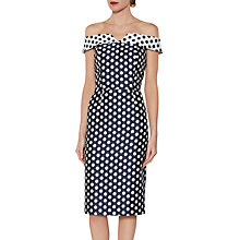 Buy Gina Bacconi Trinity Jacquard Spot Dress, Navy/White Online at johnlewis.com