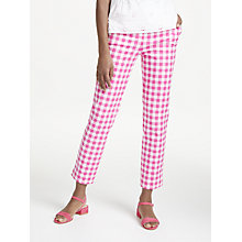 Buy Boden Richmond 7/8 Check Print Trousers, Pink/White Online at johnlewis.com