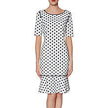 Buy Gina Bacconi Gladys Spotted Scuba Dress, Black/White Online at johnlewis.com