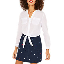 Buy Oasis Dobby Tie Front Shirt, White Online at johnlewis.com