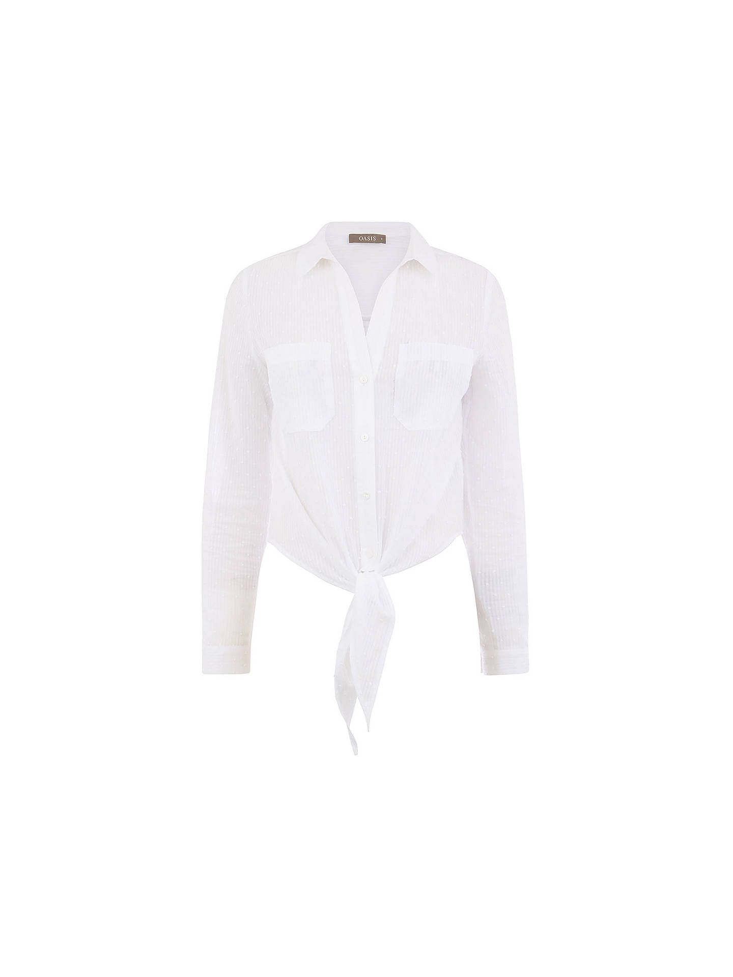 a99c79116e9b ... Buy Oasis Dobby Tie Front Shirt, White, 6 Online at johnlewis.com ...