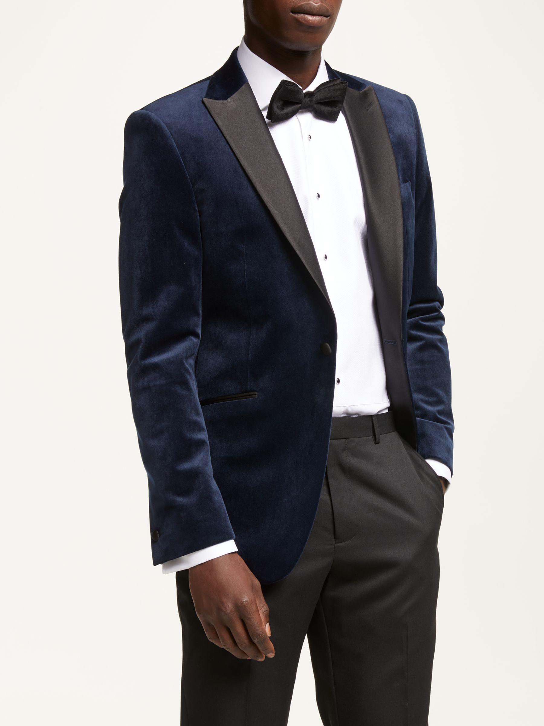 Kin Slim Fit Velvet Dress Jacket Navy At John Lewis Partners