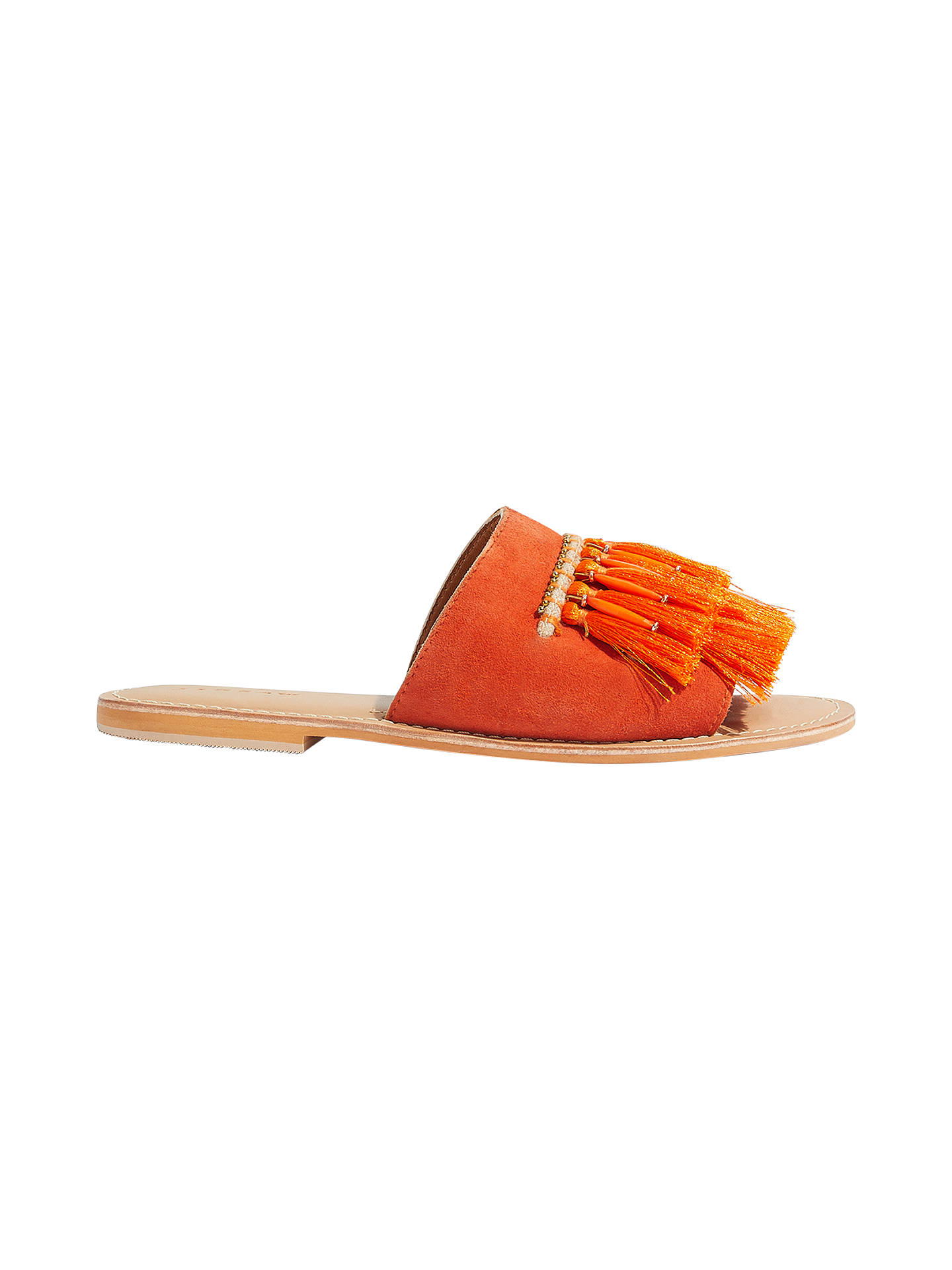 BuyJigsaw Minze Fringe Slider Sandals, Orange, 4 Online at johnlewis.com