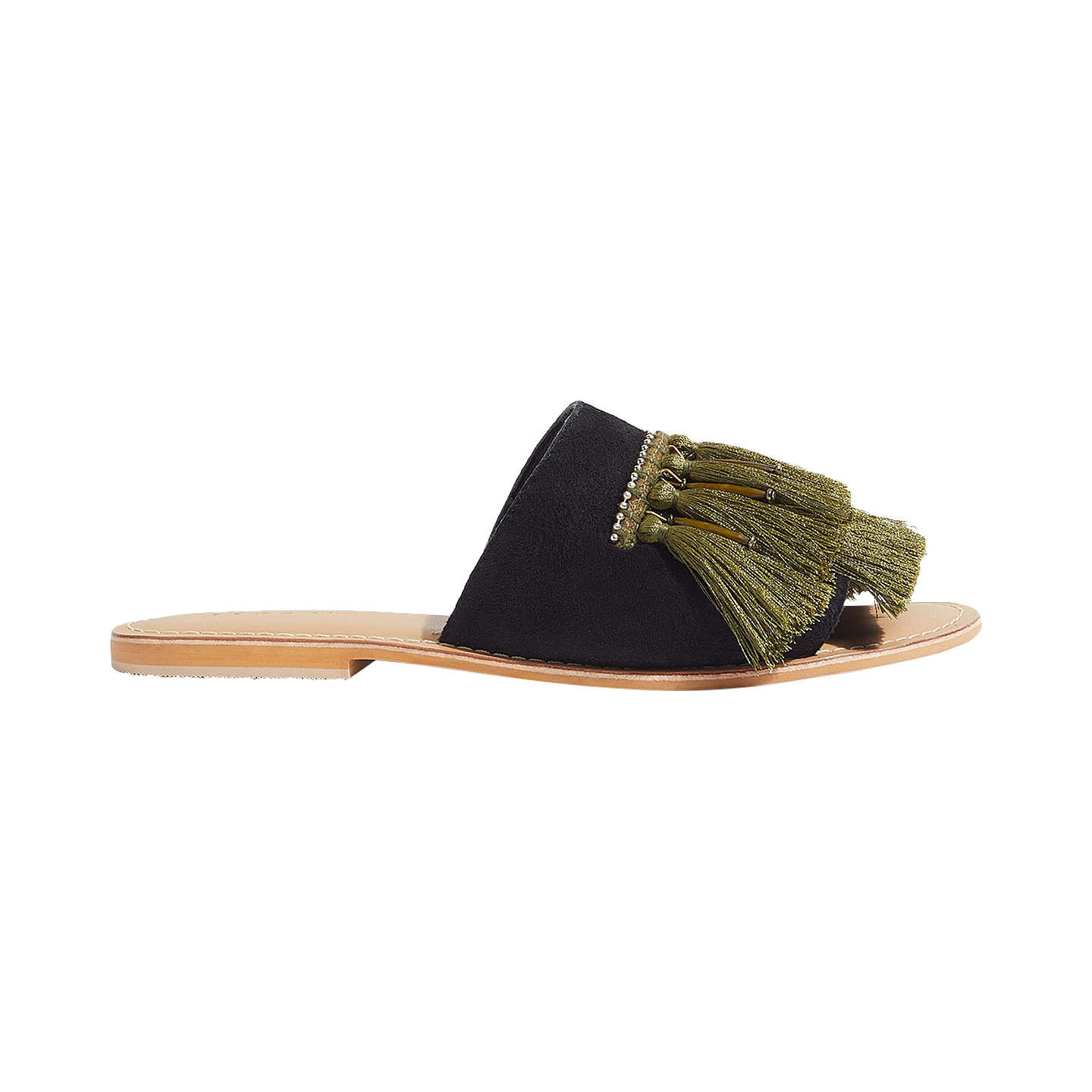 BuyJigsaw Minze Fringe Slider Sandals, Khaki, 3 Online at johnlewis.com