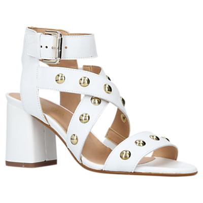 Carvela Guy Studded Block Heel Sandals, White Leather