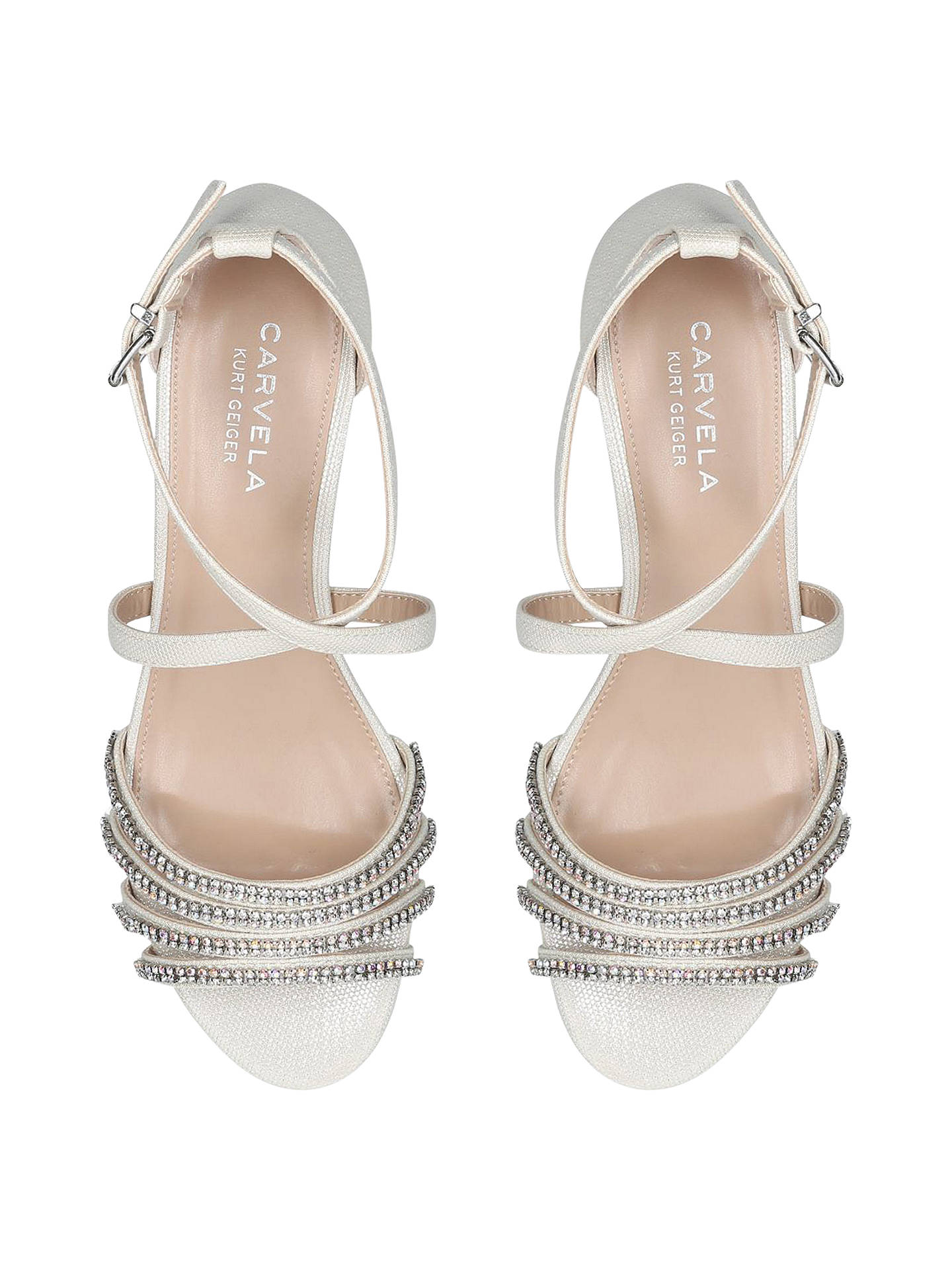Buy Carvela Linden Crystal Low Wedge Sandals, Silver, 3 Online at johnlewis.com