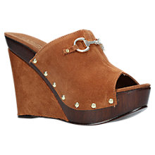 Buy Carvela Klaus Wedge Heel Peep Toe Sandals, Tan Suede Online at johnlewis.com