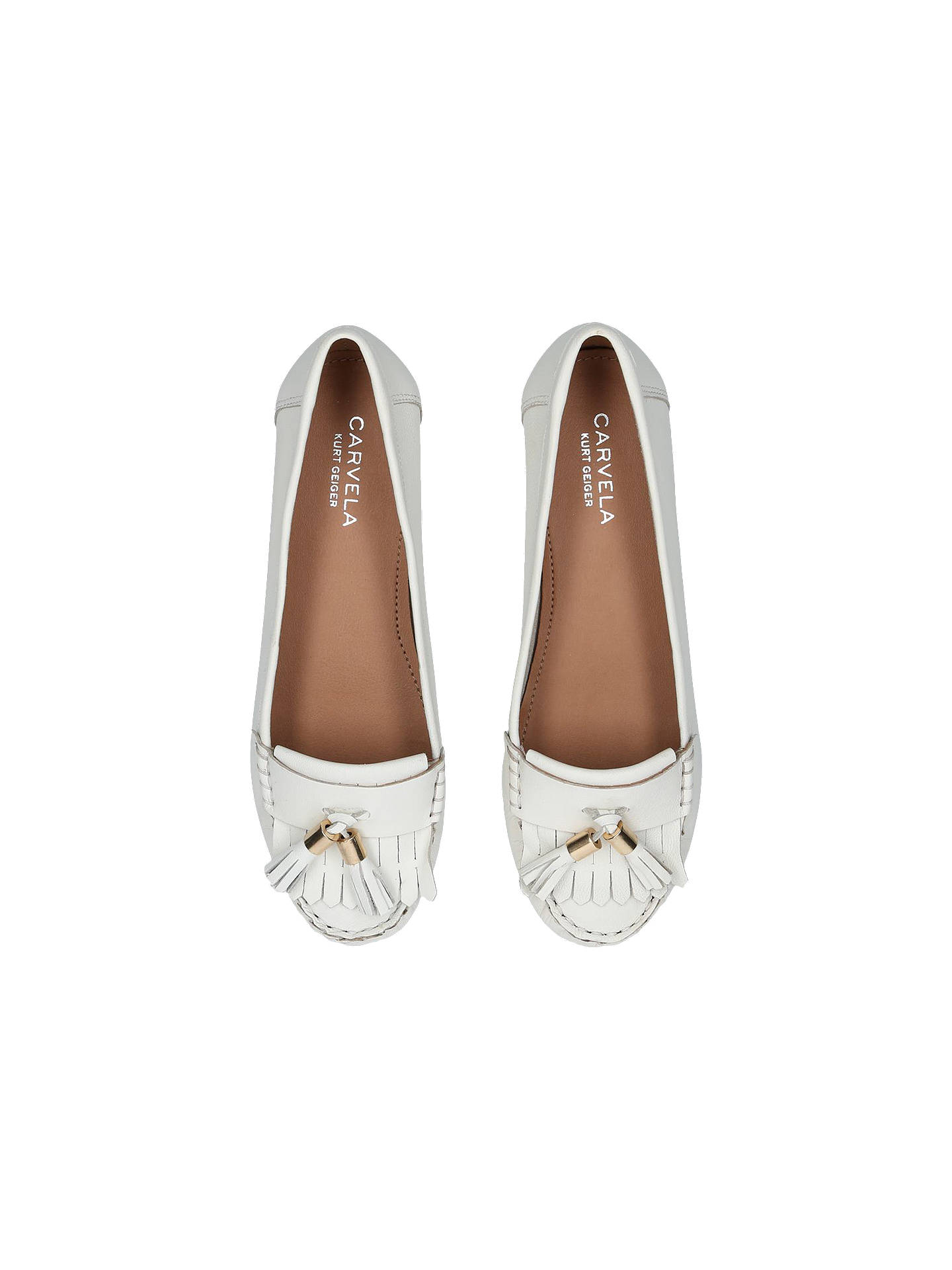 BuyCarvela Mocking Moccasins, White Leather, 3 Online at johnlewis.com