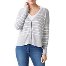 Buy Pure Collection Cotton Silk Striped Cardigan, Heather Dove/White Online at johnlewis.com
