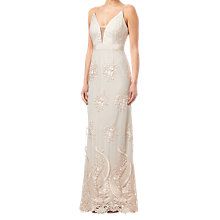 Buy Adrianna Papell Embroidered Tulle Dress, Almond Online at johnlewis.com