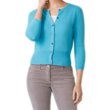 Buy Pure Collection Cashmere Cropped Cardigan, Soft Turquoise Online at johnlewis.com