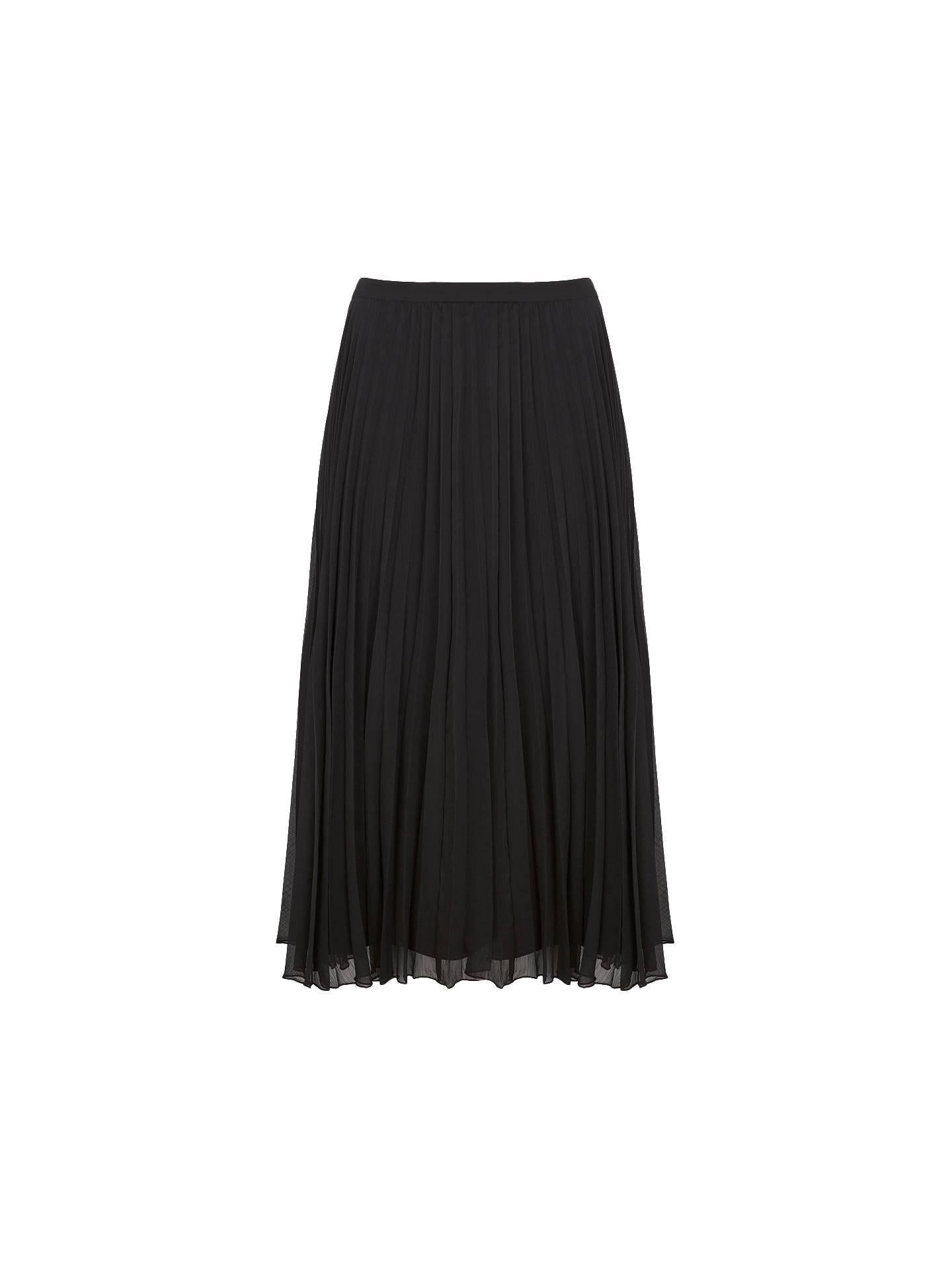 948a3118e0 Buy Mint Velvet Chiffon Pleated Skirt, Black, 6 Online at johnlewis.com ...