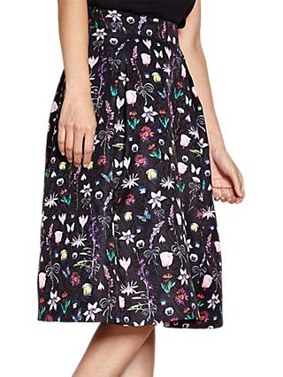 Yumi Botanical Jacquard Skirt, Black