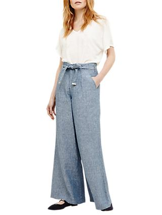 Phase Eight Irina Wide Leg Trousers, Smoke Blue