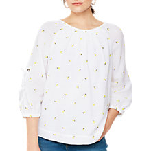 Buy Mint Velvet Cotton Bow Sleeve Blouse, Ivory Online at johnlewis.com