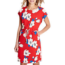 Buy Yumi Floral Print Drawstring Dress, Light Red Online at johnlewis.com
