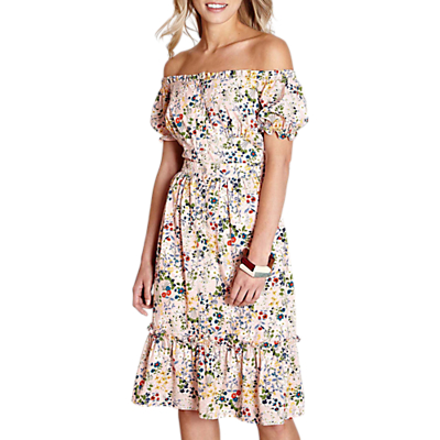 Yumi Bardot Floral Dress, Light Pink
