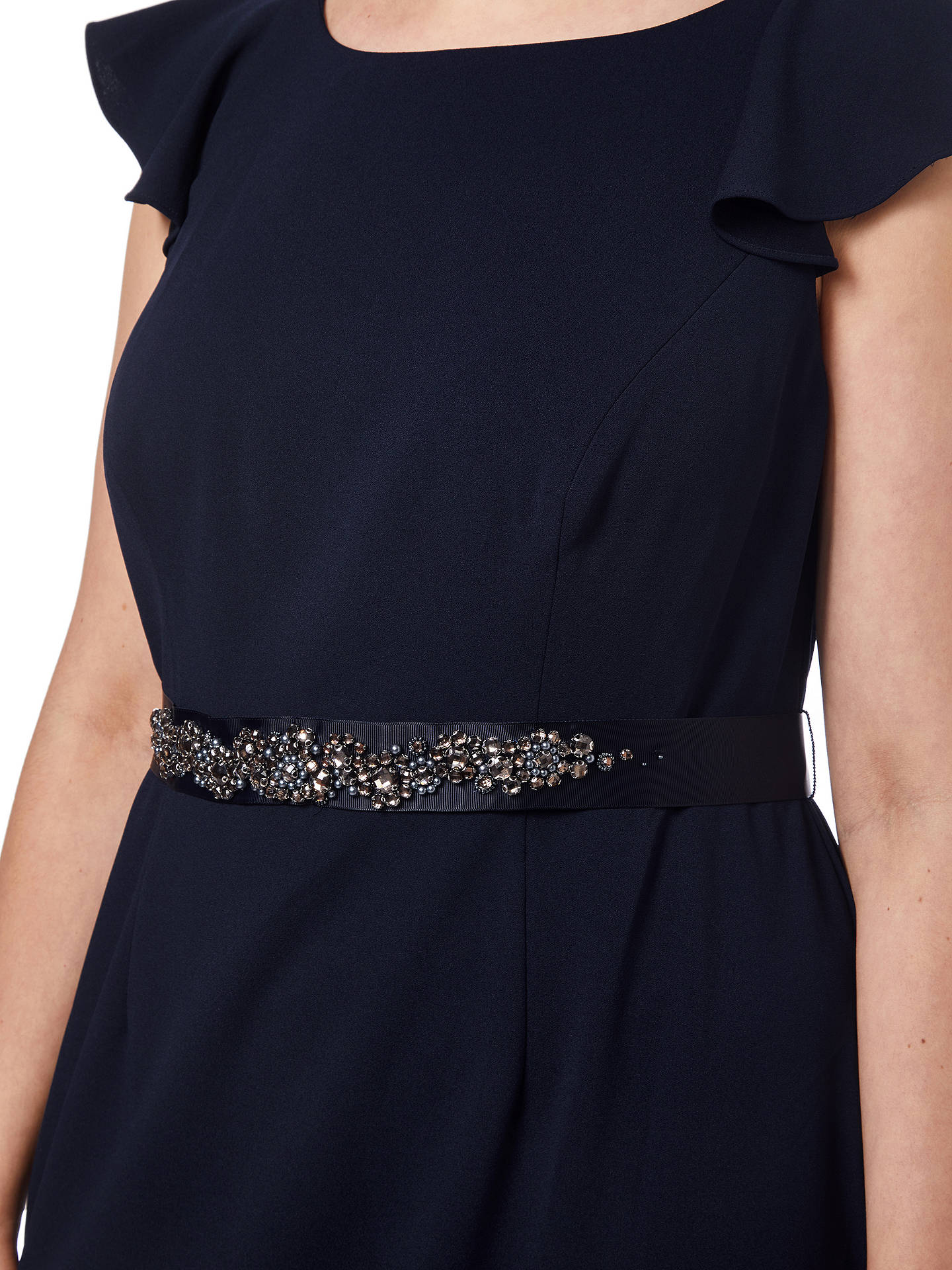 BuyAdrianna Papell Beaded Crepe Dress, Midnight, 18 Online at johnlewis.com