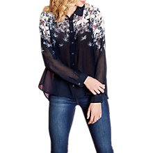 Buy Yumi Bird Print Sheer Shirt, Navy Online at johnlewis.com