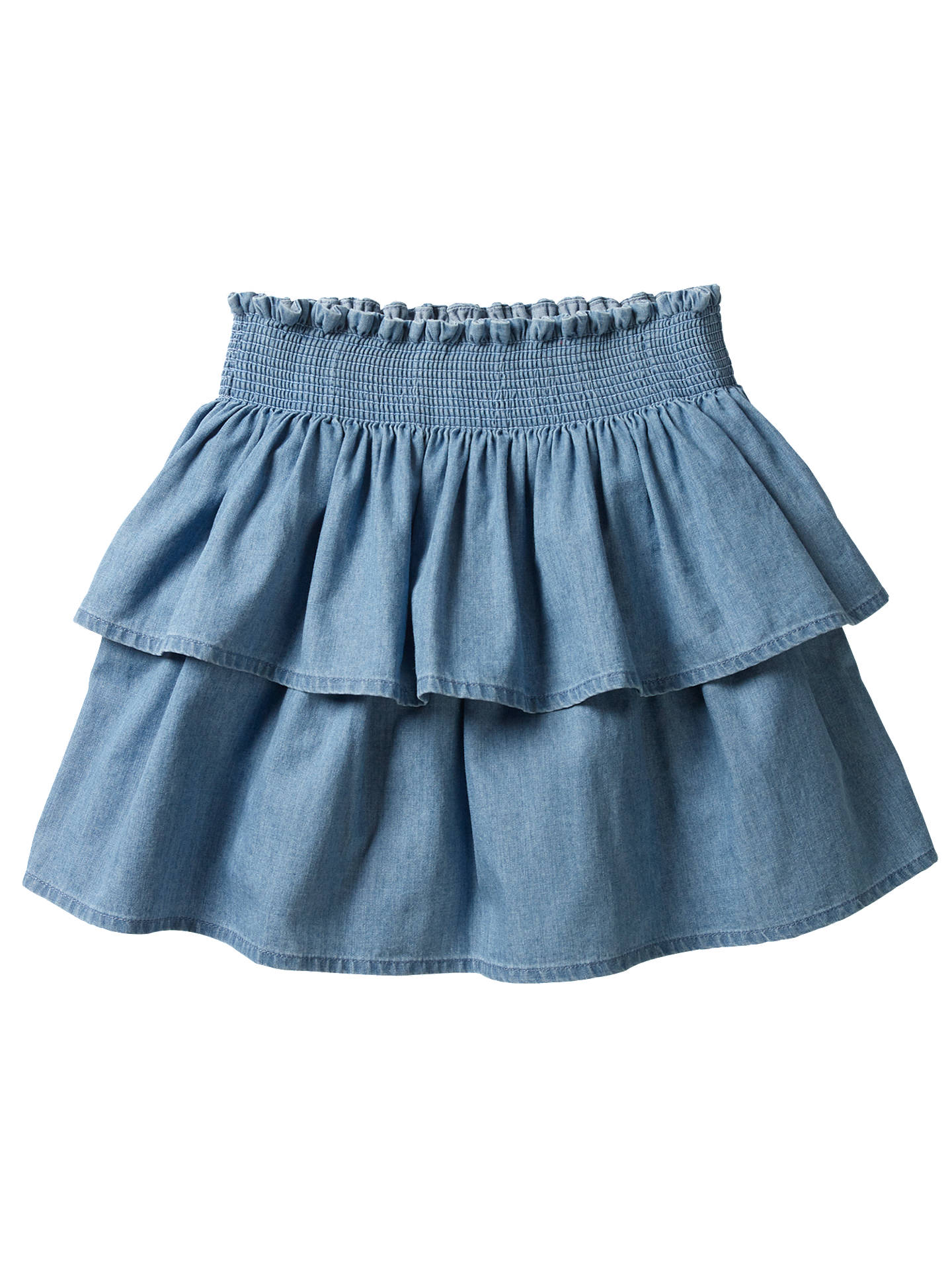 2541b2e1b3f3 Buy Mini Boden Girls' Ruffled Denim Skirt, Blue, 2-3 years Online ...