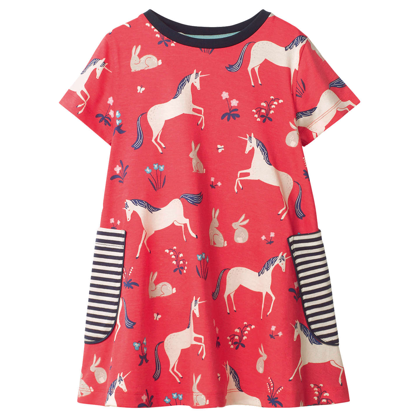BuyMini Boden Girls' Colourful Unicorn Print Tunic Dress, Pink, 2-3 years Online at johnlewis.com