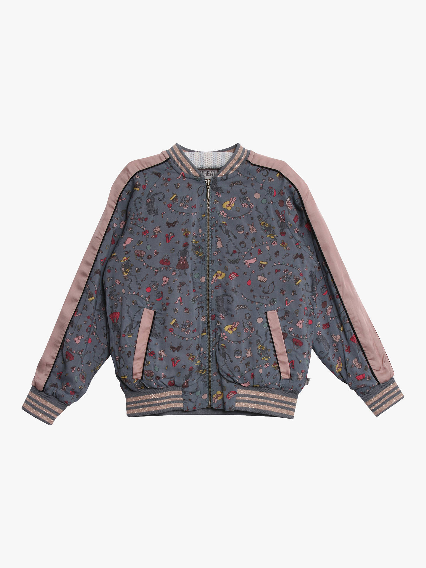 2ca38b681 Wheat Girls' Printed Bomber Jacket, Dove at John Lewis & Partners